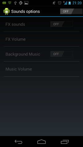 The sound preferences screen