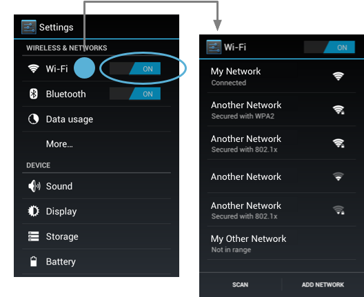 Android's Wifi Settings master On/Off Switch